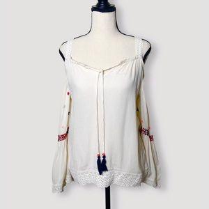 PATRONS OF PEACE boho cold shoulder blouse